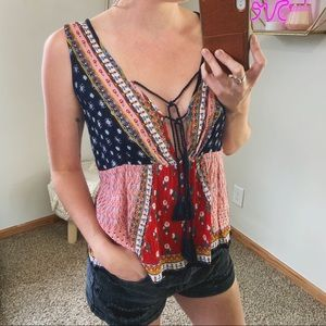 Patrons Of Peace Multicolor Patch Boho Blouse
